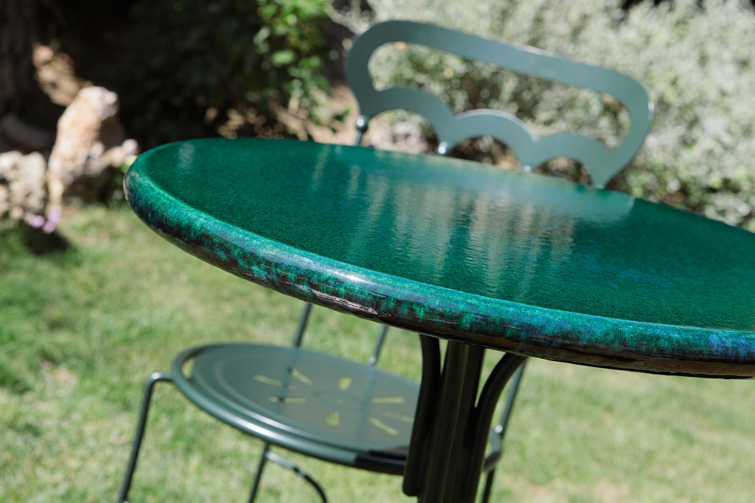 tavolo Bistrot, con piano smaltato Coquille
