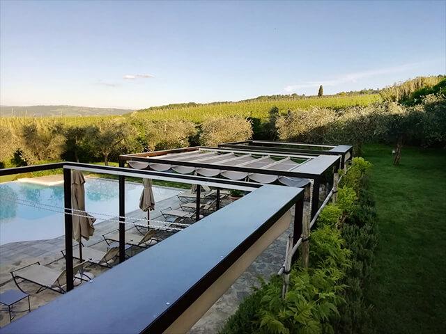 Pergola con tenda nuvola Gaia - Relais Canalicchio di Sopra - Montalcino