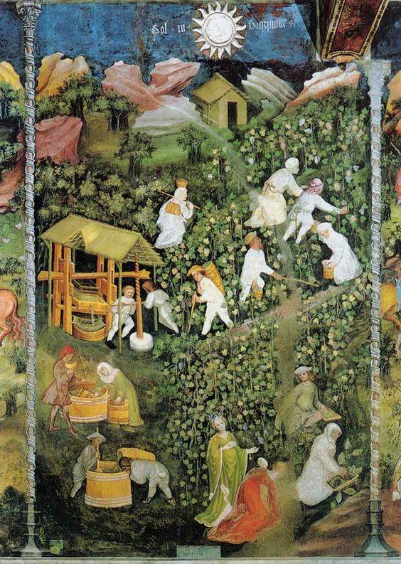 """orto monastico e giardino medievale - """"Ottobre"""", Ciclo dei Mesi, affresco nel Castello del Buonconsiglio (TN),(ca. 1390-1400), Maestro Venceslao"""